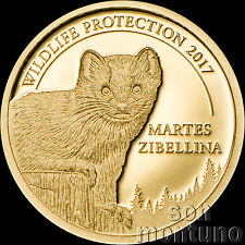 2017 Mongolia SABLE - Wildlife Protection .5 gram 24K GOLD COIN Martes Zibellina