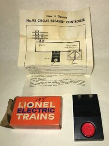 LIONEL No. 92 CIRCUIT BREAKER Controller 1959 TESTED WORKS w/ Box & Instructions