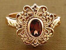 R141 Genuine SOLID 9K Rose Gold Natural GARNET Filligree Ring Ornate size N