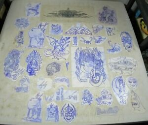 35 Pieces Of Tattoo Art On Transfer Paper Skulls Sexy Dragon Motorcycles Flash