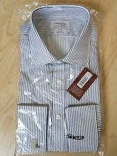 """T M LEWIN Mens Shirt  White + Navy Stripe FINEST TWO FOLD COTTON 16.5"""" Brand NEW"""