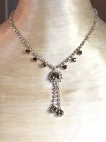 Vtg Art Deco Czech Crystal Rhinestone Necklace Chaton Topaz  Tassel