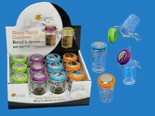 LUCIANO 12 PC GLASS SPICE JARS, BLUE, GREEN, ORANGE PURPLE