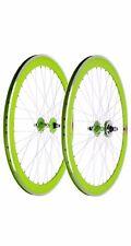 Deep V 50mm Fixed Gear, Fixie, Single Speed Bike Flip-Flop Wheels, Green & White