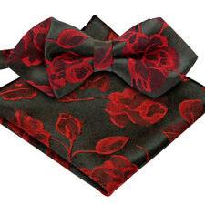 *BRAND NEW* RED TULIP FLORAL JACQUARD MENS BOW TIE AND POCKET SQUARE SET B1122