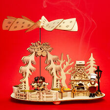 SIKORA P35 2-in-1 Wooden Tea Light Christmas Pyramid - Bakery with Smoking Oven
