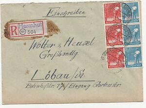 R-Brief Herrnhut 1948 Allierte Besatzung Mi Nr 38 I & 43 II MF reco Löbau !