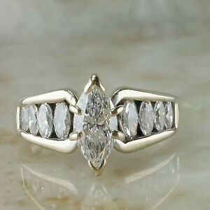 2.67Ct Marquise cut Solitaire Diamond Engagement Ring Solid 14K White Gold Over