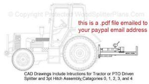 3-Point Hitch Tractor Horizontal Wood-Log Splitter Plans, 3pt 20 - 50 Ton Models