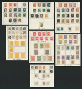 BRAZIL STAMPS 1866-1890 PAGES DOM PEDRO SETS, SMALL & LARGE HEADS, NEWSPAPER ETC