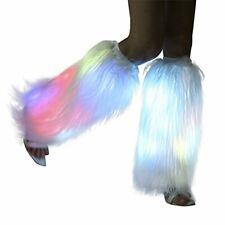 Light Up Faux Fur Led Leg Warmer Glow Rave white Fluffies Rainbow (White)