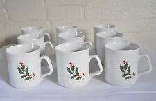 Alco Holly Christmas Mugs Set 9 Cups Coffee Tea Stonewear Dinnerwear Dishes