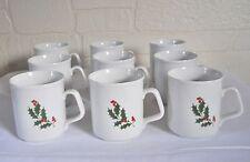 Alco Holly Christmas Mugs Set 9 Cups Coffee Tea Stonewear Dinnerwear Dishes