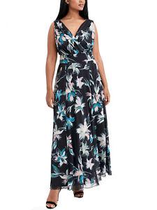 Ladies Black Floral Print Crossover Maxi Dress Plus Size 14-28 RRP £80 LDSep29-5