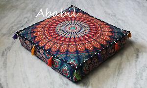 "18X4"" Square Multi Mandala Box Cushion Cover New Meditation Pillow Covers Throw"