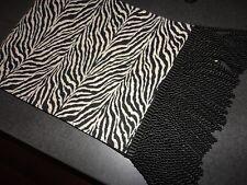 WOVEN BLACK & CREAM ZEBRA ANIMAL SAFARI FRINGES TABLE RUNNER 12 X 70