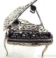 Miniature Filigree Sterling Silver Baby Grand Piano #513