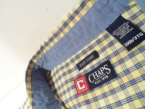 Chaps Mens Shirt Sz 3XB Big 3XL Plaid Yellow Easy Care Button Down Top w/ Pocket