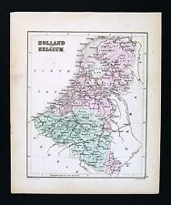 c 1858 Atlas Map Holland Belgium Netherlands Luxemburg Amsterdam Brussels Ghent