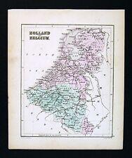 c 1858 Atlas Map Holland Belgium Netherlands Luxemburg Amsterdam Brussels Ghent