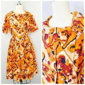 Vintage 60s MOD Psychedelic Shift Dress Size M Medium Martha Moore VLV PinUp