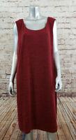 CJ Banks Sleeveless Dress Womens Plus Size 24W Burgundy Chambray NEW Retails $85