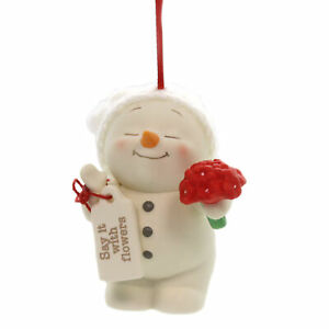Holiday Ornaments SAY IT WITH FLOWERS Porcelain Snowpinions Christmas 6000914