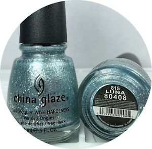 China Glaze Nail Polish Specialty LUNA 815 Holographic Blue Silver Glitter Lacqu