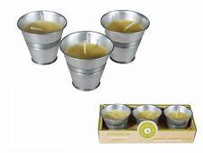 6 Citronella Duftkerze im Zinn-Eimer, gelb, ø60x58mm nur für draußen OOTB 100076