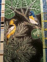 Hoffman Prints Aspen Bird with silver metallic 100% cotton BTY