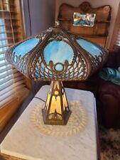 Rare Large Antique Slag Glass Lamp Top & Base Light Up Art Deco Nouveau -7 Panel
