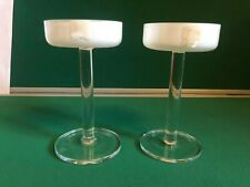 royal doulton stemmed dessert dishes?  glass. clear and white