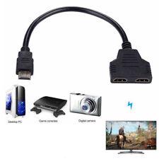 2 in 1 HDMI Splitter Kabel Verteiler Switch Adapter 1080P 1 Stecker auf 2 Buchse