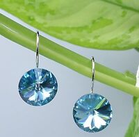 Luxury 18K Gold GP Blue Aquamarine Dangle Earrings Swarovski Crystals Elements