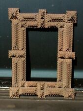 "Antique Vintage 11¾""W x 14½""L Chip Carved HOBO TRAMP ART FRAME Great Geometry!"