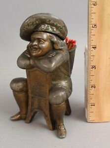 Antique Figural Counter Top Kerosene Cigar Lighter & Match Safe Smoking Man NR