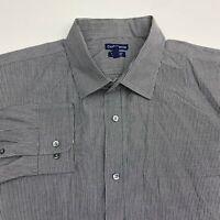 Croft & Barrow Button Up Dress Shirt Men's 18.5 Long Sleeve Gray Striped Casual
