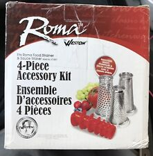 Weston ROMA Food Strainer & Sauce Maker 4 FOUR PIECE ACCESSORY KIT 07-0858 NEW