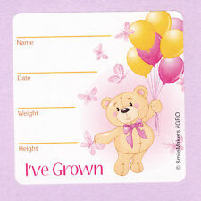 10 I've Grown Bear - Pink - Height and Weight - Large Stickers