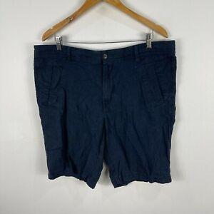 Marks & Spencer Mens Shorts Size 38 Blue Linen Blend Pockets Zip 83.09