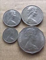⚡1970 Australian 50 Cent, 20 Cent, 10 Cent, 5 Cent Coin Set Of 4 🇦🇺FREE Post💰