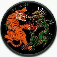 2019 China DRAGON and TIGER Colorized Ruthenium 1oz .999 Silver Coin - Box & COA