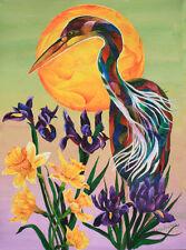 Heron with Irises Original 18x24 Acrylic Bird Painting by Sherry Shipley