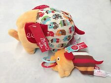 2 pc Set of NEW Nat & Jules ZUTANO ELEPHANT PARADE & RING RATTLE Plush Toys