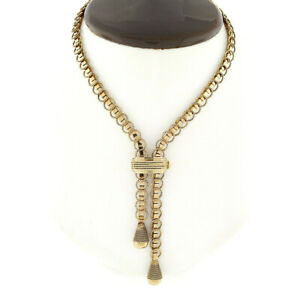Russian 14k Rose Gold Fancy Twisted Wire Rectangular Link Chain Lariat Necklace