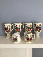 Vintage MCM Floral Footed Pedestal Coffee Mugs With Creamer And Sugar Bowl/lid