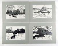 Vintage 1960's Lionel Barrymore Silver Foil Etch Four Print Set