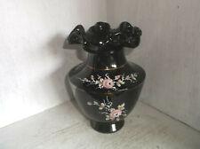 "Fenton Glass Black Copper and Roses Ruffled Vase 7 1/4"""