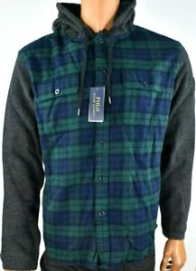 Polo Ralph Lauren Mens Hoodie New L Blue Green Plaid Long Sleeve Draw Strings