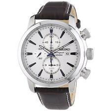 New Seiko Sport Chronograph Silver Dial Black Leather Mens Watch SNAF51
